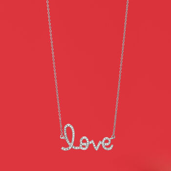 """.17 ct. t.w. Diamond """"Love"""" Necklace in 14kt White Gold, , default"""