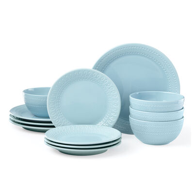 "Kate Spade New York ""Willow Drive"" 12-pc. Blue Ceramic Dinnerware Set, , default"