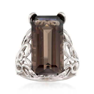 Italian 12.00 ct. t.w. Smoky Quartz Ring in Sterling Silver, , default