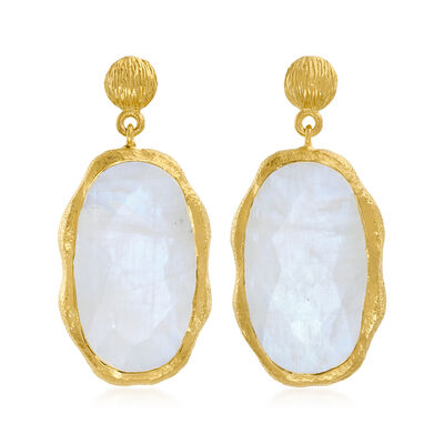 Moonstone Drop Earrings in 18kt Gold Over Sterling