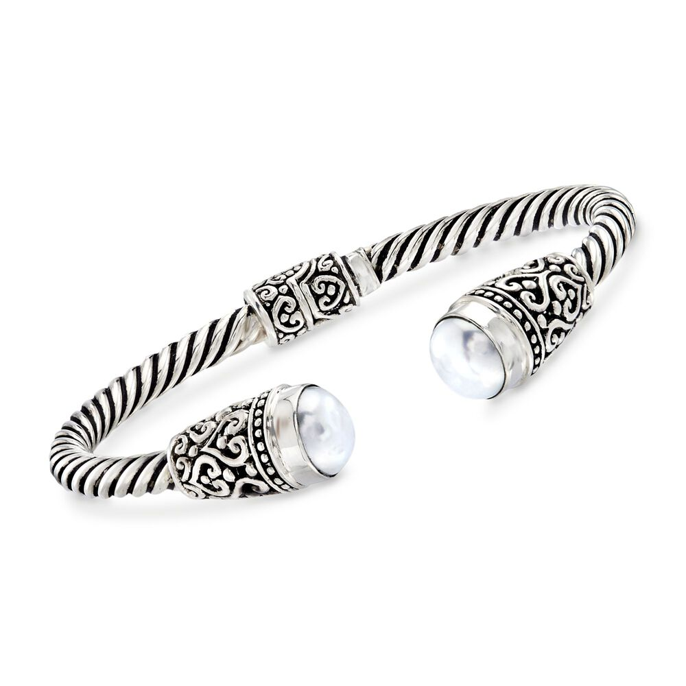 Balinese 10 5mm White Cultured Pearl Cuff Bracelet In Sterling Silver 7 5