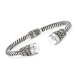 "Balinese 10-10.5mm White Cultured Pearl Cuff Bracelet in Sterling Silver. 7.5"", , default"