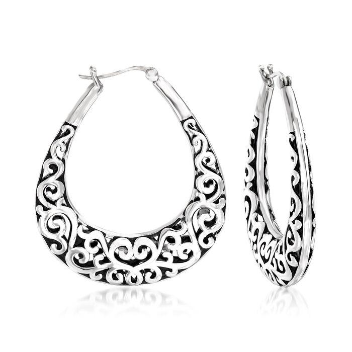 Sterling Silver Oval Filigree Hoop Earrings