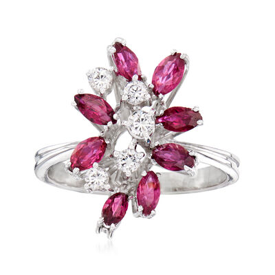 C. 1970 Vintage 1.20 ct. t.w. Ruby and .25 ct. t.w. Diamond Cluster Ring in 18kt White Gold