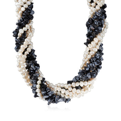 5-6mm Cultured Pearl and Snowflake Obsidian Torsade Necklace with Sterling Silver, , default