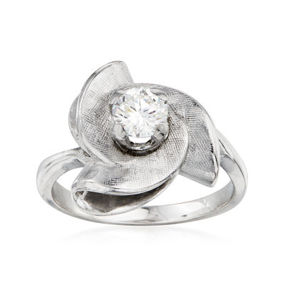 C. 1960 Vintage .45 Carat Diamond Swirl Ring in 14kt White Gold