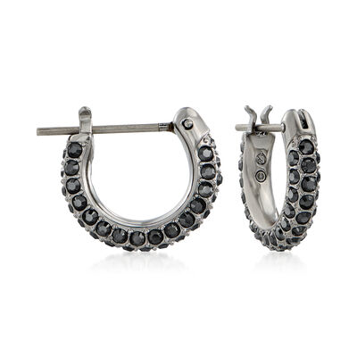 Swarovski Crystal Black Crystal Huggie Hoop Earrings in Silvertone, , default