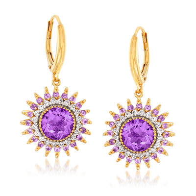 4.00 ct. t.w. Amethyst and .50 ct. t.w. Diamond Sun Drop Earrings in 18kt Gold Over Sterling, , default