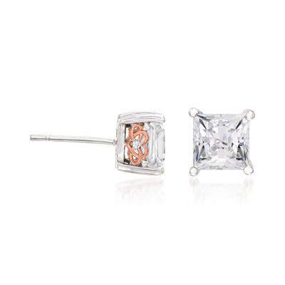 2.52 ct. t.w. CZ Square-Cut Stud Earrings in Sterling Silver, , default