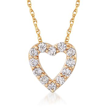 ".24 ct. t.w. Diamond Heart Necklace in 14kt Yellow Gold. 18"", , default"