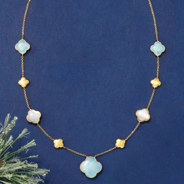 Italian Mother-Of-Pearl and 6.80 ct. t.w. Aquamarine Clover Station Necklace in 14kt Yellow Gold
