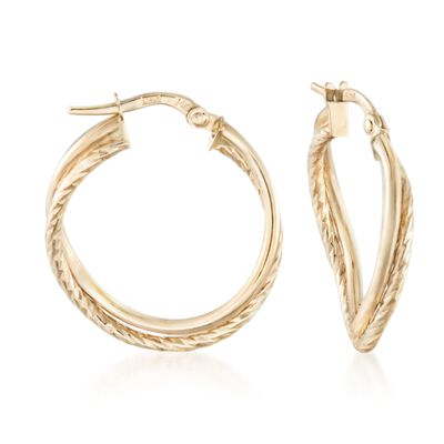 Italian 14kt Yellow Gold Double Hoop Earrings, , default