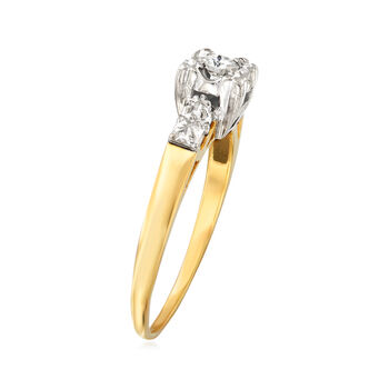 C. 1960 Vintage .15 ct. t.w. Diamond Ring in 14kt Two-Tone Gold. Size 8.5