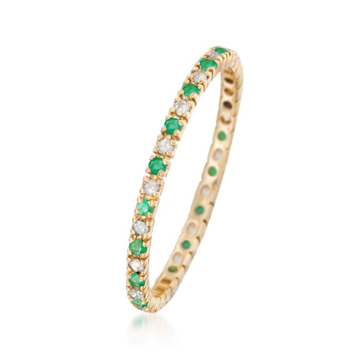 .10 ct. t.w. Emerald and .14 ct. t.w. Diamond Eternity Band Ring in 14kt Yellow Gold