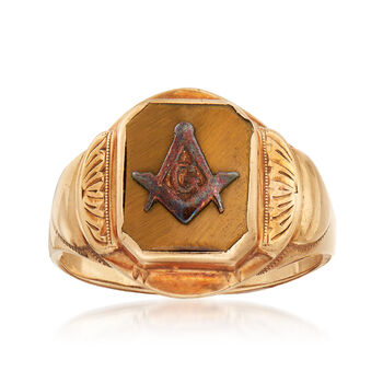 C. 1940 Vintage Men's Tiger's Eye Masonic Square and Compass Ring in 10kt Yellow Gold. Size 8.5, , default
