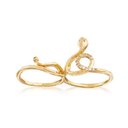 .28 ct. t.w. CZ Snake Two-Finger Ring in 14kt Gold Over Sterling, , default