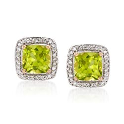 2.20 ct. t.w. Peridot and .16 ct. t.w. Diamond Halo Stud Earrings in 14kt Yellow Gold, , default