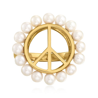 3.5mm Cultured Pearl Peace Sign Ring in 18kt Gold Over Sterling