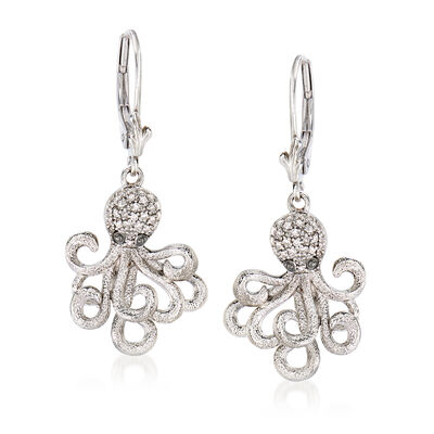 .15 ct. t.w. Diamond Octopus Drop Earrings in Sterling Silver