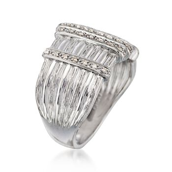 .10 ct. t.w. Diamond Textured Bar Ring in Sterling Silver, , default