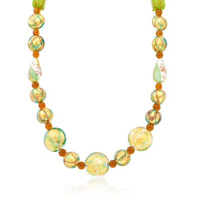Amber and Green Murano Glass Bead Necklace with 14kt Gold Over Sterling, , default