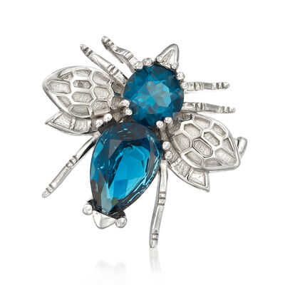 6.50 ct. t.w. London Blue Topaz Insect Pin/Pendant in Sterling Silver, , default
