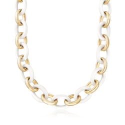 Andiamo White Agate and 14kt Yellow Gold Link Necklace, , default