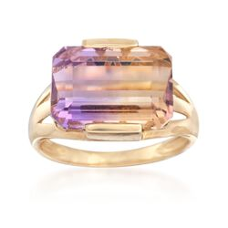 8.00 ct. t.w. Ametrine Solitaire Ring in 14kt Yellow Gold, , default