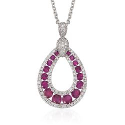"Gregg Ruth 1.23 ct. t.w. Ruby and .57 ct. t.w. Diamond Pendant Necklace in 18kt White Gold. 18"", , default"
