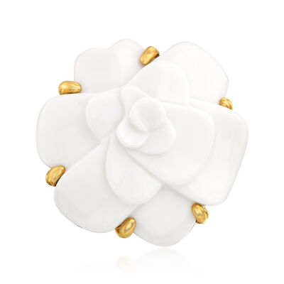 C. 1980 Vintage Chanel White Agate Flower Ring in 18kt Yellow Gold, , default