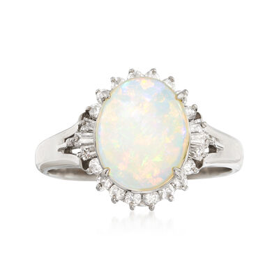 C. 1990 Vintage Opal and .30 ct. t.w. Diamond Ring in Platinum