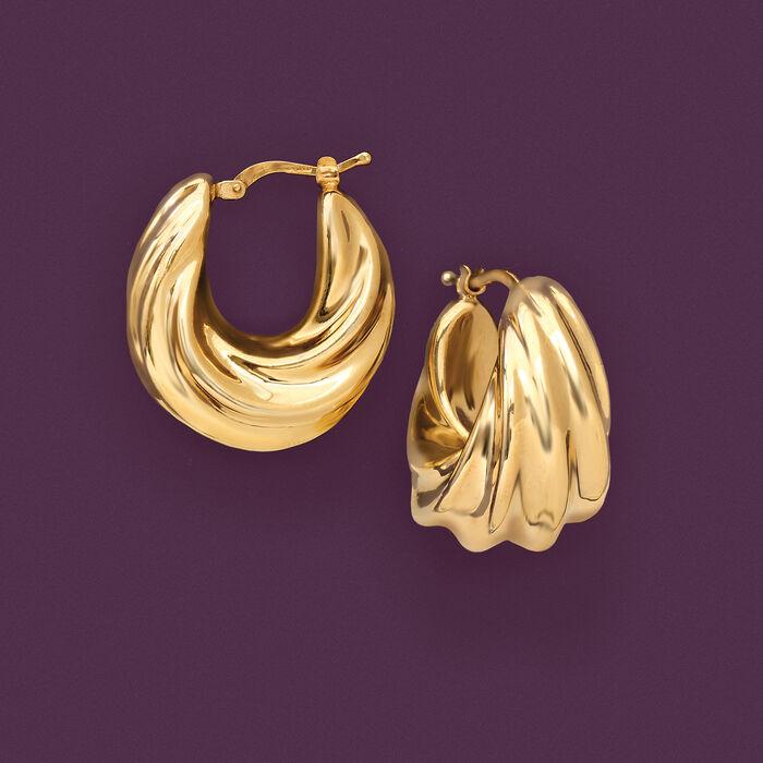 Italian 18kt Gold Over Sterling Ribbed Twist Hoop Earrings