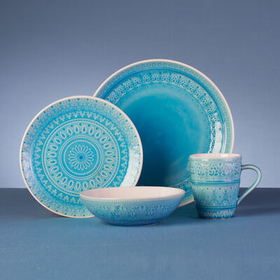 Fez Turquoise Stoneware 16-pc. Service for 4 Dinnerware Set, , default