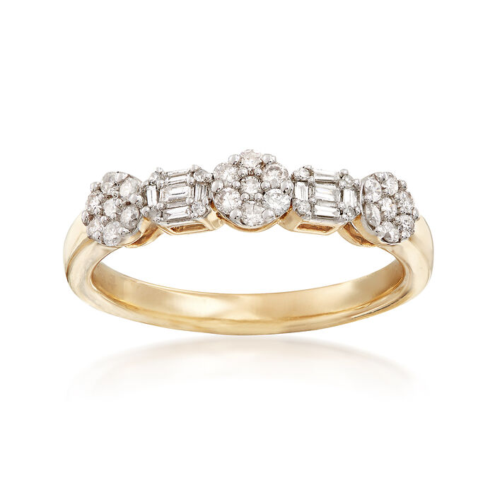 .35 ct. t.w. Round and Baguette Diamond Ring in 14kt Yellow Gold, , default