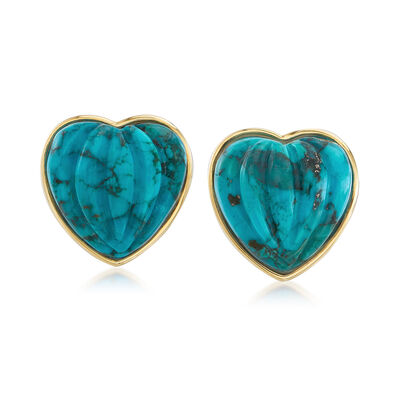 Stabilized Turquoise Heart-Shaped Earrings in 14kt Yellow Gold , , default