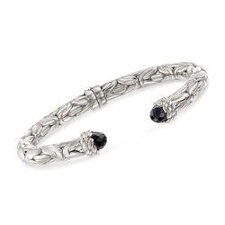 Italian Black Onyx Byzantine Cuff Bracelet in Sterling Silver, , default