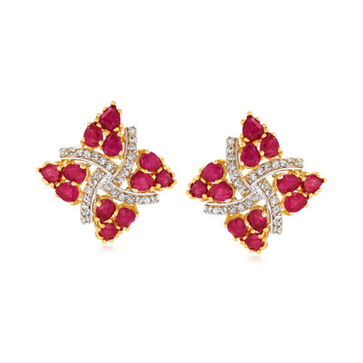 4.30 ct. t.w. Ruby and .25 ct. t.w. White Zircon Pinwheel Stud Earrings in 18kt Gold Over Sterling