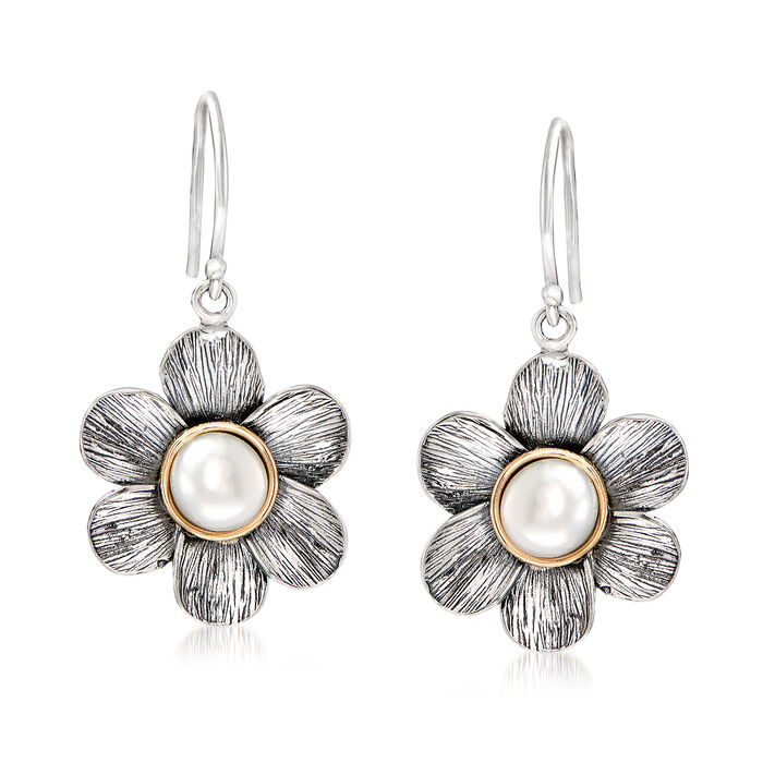 5.5-6.5mm Cultured Pearl Floral Earrings in 14kt Yellow Gold and Sterling Silver, , default