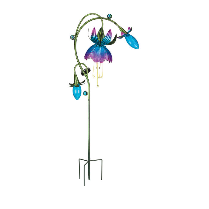"""Regal """"Solar Fuchsia"""" Set of 2 Pink and Blue Garden Stakes"""