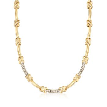 "C. 1980 Vintage .60 ct. t.w. Diamond X Link Necklace in 14kt Yellow Gold With White Rhodium. 16"", , default"