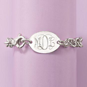 Italian Sterling Silver Monogram Oval ID Bracelet, , default