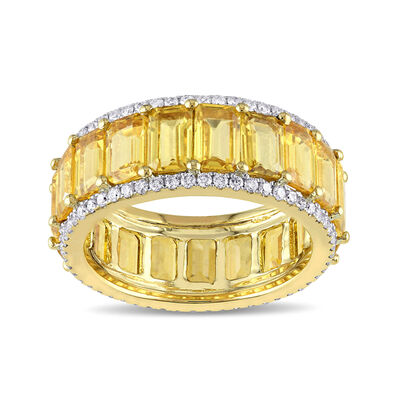 10.00 ct. t.w. Yellow Sapphire and .64 ct. t.w. Diamond Eternity Band in 14kt Yellow Gold, , default