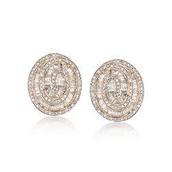 1.00 ct. t.w. Diamond Swirl Earrings in 14kt Yellow Gold, , default