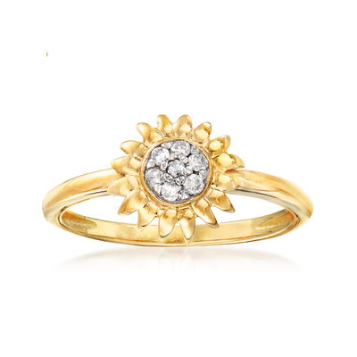.10 ct. t.w. Diamond Sunflower Ring in 18kt Gold Over Sterling