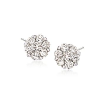 .49 ct. t.w. Diamond Floral Cluster Stud Earrings in 14kt White Gold, , default
