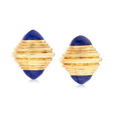 C. 1960 Vintage Boucheron Lapis Clip-On Earrings in 18kt Yellow Gold, , default