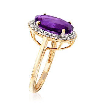 3.90 Carat Amethyst and .21 ct. t.w. Diamond Ring in 14kt Yellow Gold, , default