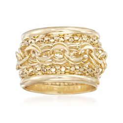 14kt Yellow Gold Chain-Link Ring, , default