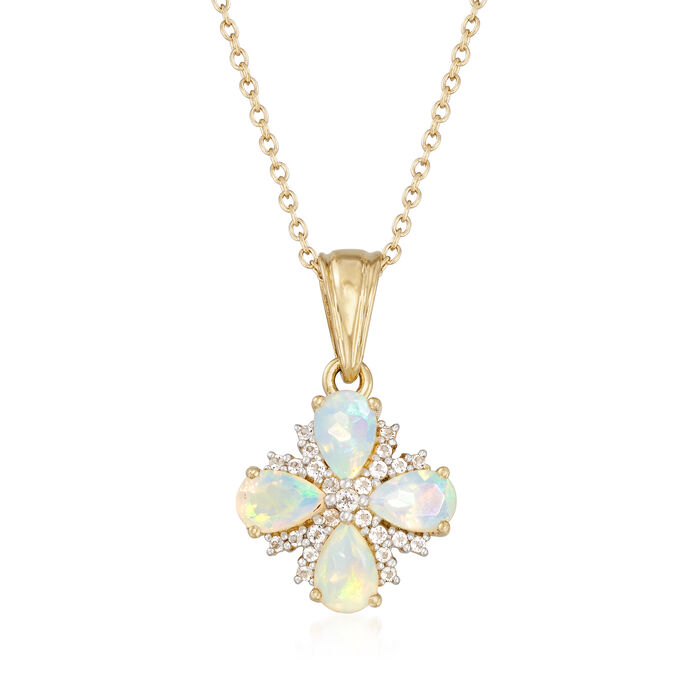 """Ethiopian Opal and .18 ct. t.w. White Topaz Floral Necklace in 14kt Gold Over Sterling. 18"""", , default"""