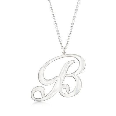 Sterling Silver Oversized Single Initial Pendant Necklace, , default